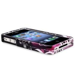 INSTEN Two-Piece Black/ Purple Heart Phone Case Cover/ Mirror LCD Protector for Apple iPhone 4/ 4S