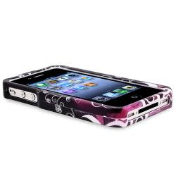 INSTEN Black/ Purple Heart Phone Case Cover/ Screen Protector for Apple iPhone 4/ 4S