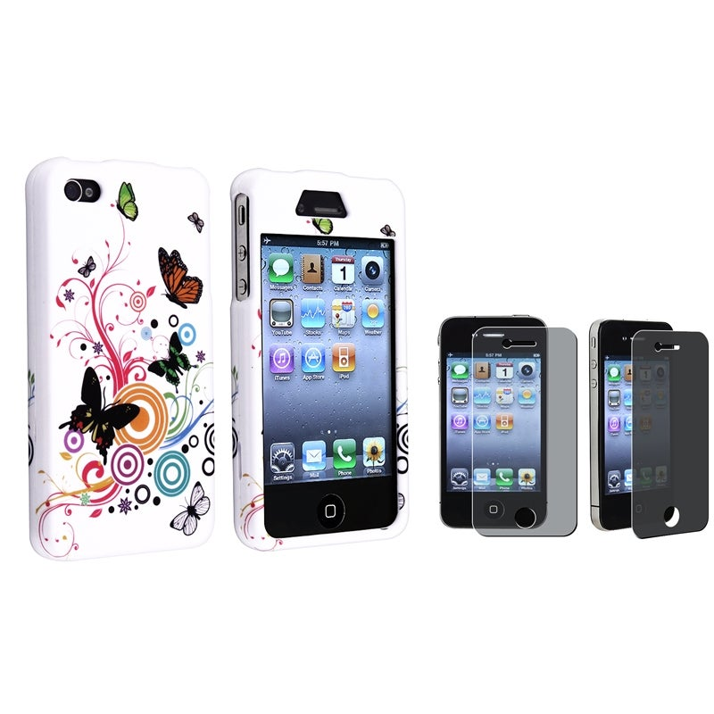 INSTEN White Autumn Flower Phone Case Cover/ Privacy LCD Protector for Apple iPhone 4/ 4S