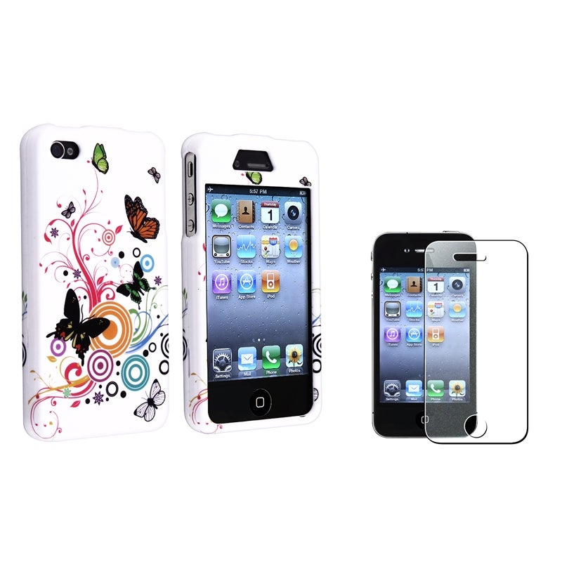 INSTEN White Autumn Flower Phone Case Cover/ Diamond LCD Protector for Apple iPhone 4/ 4S