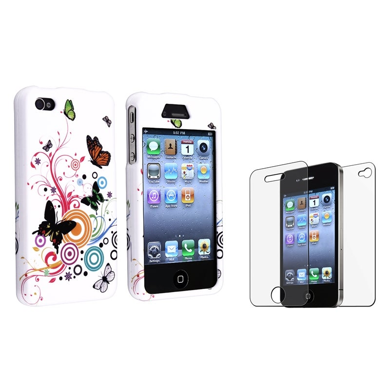 INSTEN White Autumn Flower Phone Case Cover/ Anti-glare Protector Bundle for Apple iPhone 4/ 4S