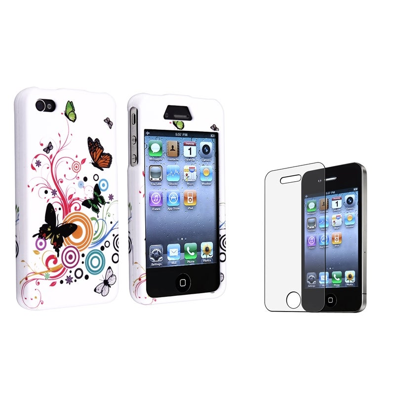 INSTEN White Autumn Flower Phone Case Cover/ Anti-glare Protector for Apple iPhone 4/ 4S