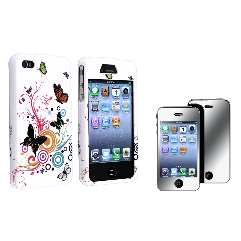 INSTEN White Autumn Flower Phone Case Cover/ Mirror LCD Protector for Apple iPhone 4/ 4S