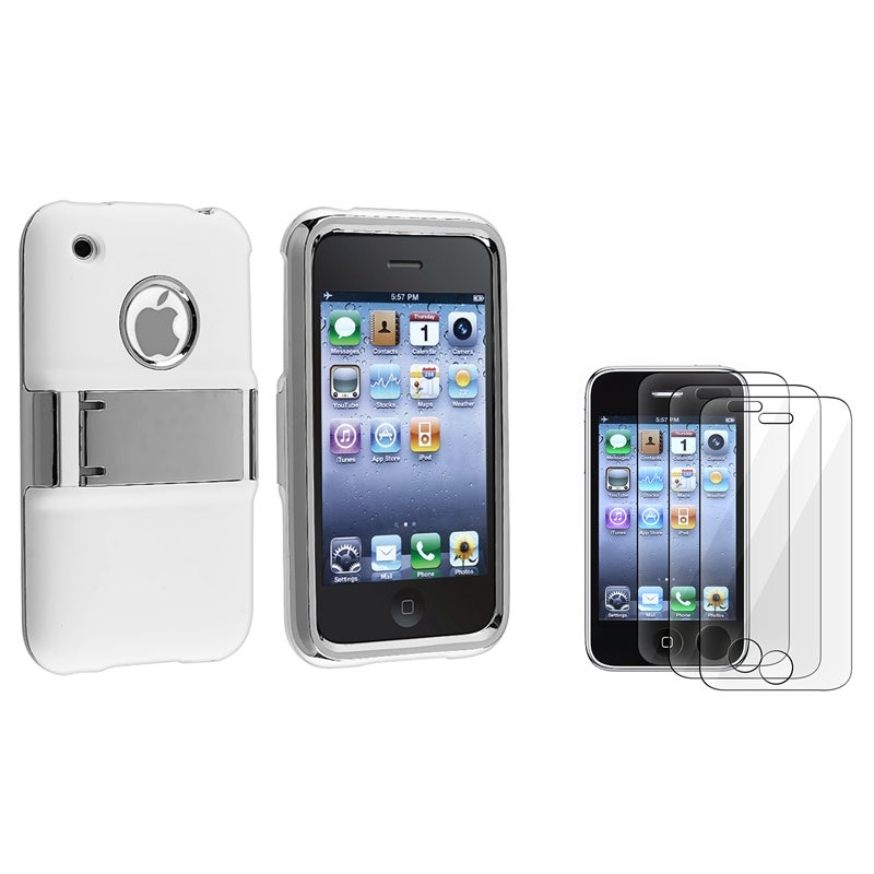 White with Chrome Stand Case/ LCD Protectors for Apple iPhone 3G/ 3GS
