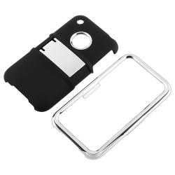 Black with Chrome Stand Case/ LCD Protectors for Apple iPhone 3G/ 3GS - Thumbnail 1