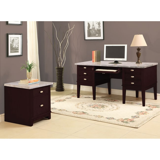 Superior Britney 6 Drawer White Marble Top Office Desk