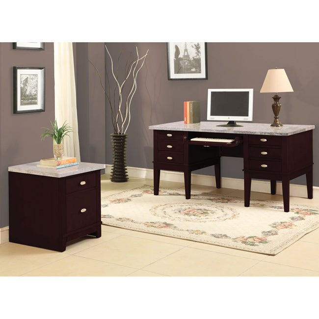 Britney 6 Drawer White Marble Top Office Desk