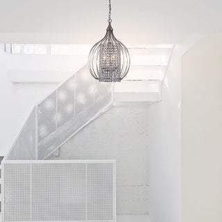 Compact Satin Nickel and Crystal Pendant Chandelier