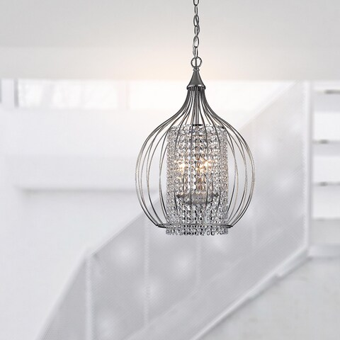 Silver Orchid Tierney Compact Satin Nickel and Crystal Pendant Chandelier