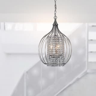 Buy pendant lighting online at overstock our best lighting deals silver orchid tierney compact satin nickel and crystal pendant chandelier aloadofball Images