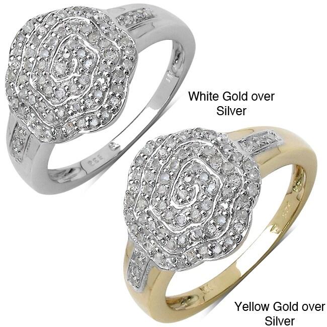 14k Gold over Sterling Silver 3/8ct TDW Diamond Ring (I-J, I2-I3)