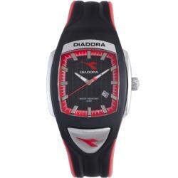 Diadora Men's Black/ Red Rubber Date Watch
