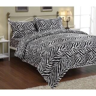 Zebra Black / White Faux Silk Satin Sheet Set