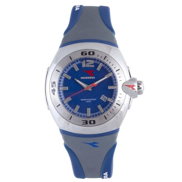 Diadora Men's Grey/ Blue Rubber Date Watch