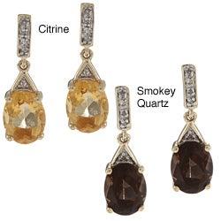 Viducci 10k Gold Gemstone and 1/10ct TDW Diamond Earrings (G-H, I1-I2)