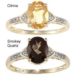 Viducci 10k Yellow Gold Gemstone and Diamond Ring