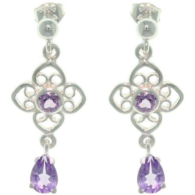 Carolina Glamour Collection Sterling Silver Amethyst Flower and Teardrop Earrings