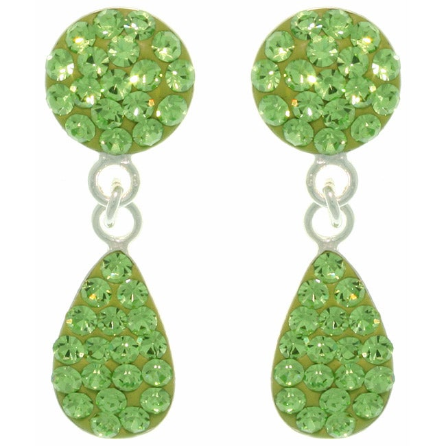 Carolina Glamour Collection Sterling Silver Green Austrian Crystal Teardrop Earrings