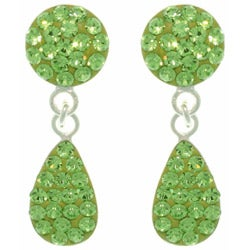 Carolina Glamour Collection Sterling Silver Green Austrian Crystal Teardrop Earrings