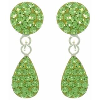 Sterling Silver Green Austrian Crystal Teardrop Earrings - White