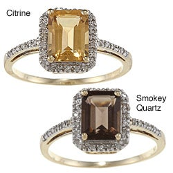 Viducci 10k Gold Emerald-cut Gemstone and 1/5ct TDW Diamond Ring (G-H, I1-I2)
