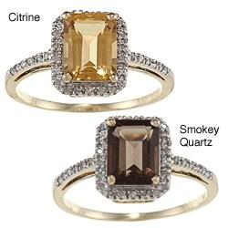 Viducci 10k Gold Emerald-cut Gemstone and 1/5ct TDW Diamond Ring (G-H, I1-I2)