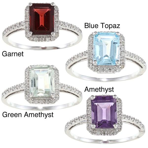Viducci 10k Gold Gemstone and 1/5ct TDW Diamond Ring (G-H, I1-I2)