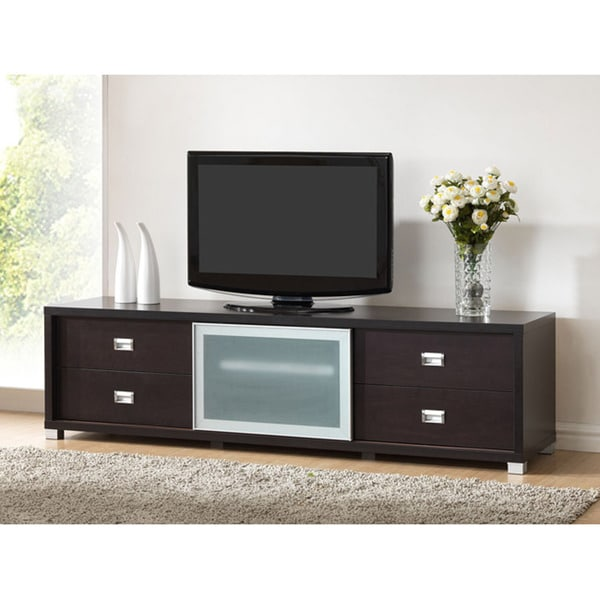 Botticelli Brown Modern TV Stand with Frosted Glass Door