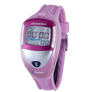 Chronotech Women's Digital Grey Dial Light Pink Bluetooth Watch