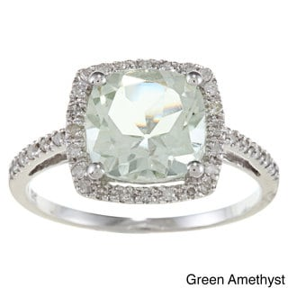 Viducci 10k Gold Cushion-cut Gemstone and 1/5ct TDW Diamond Ring (G-H, I1-I2)