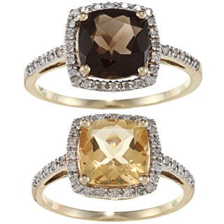 Viducci 10k Gold Gemstone and 1/5ct TDW Diamond Ring (G-H, I1-I2)