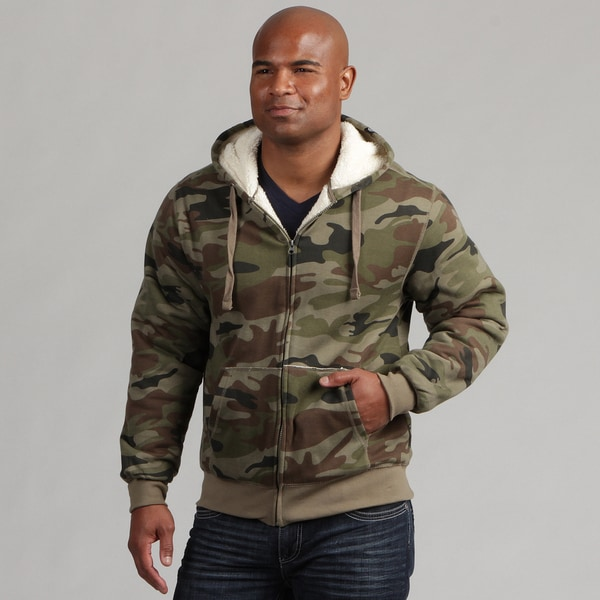 Company 81 Men's Zip Up Sherpa-lined Camo Hoodie