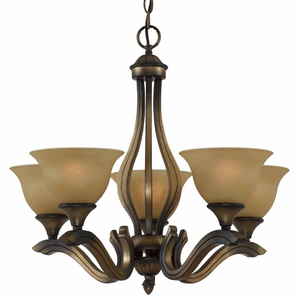 Traditional 5-light Chandelier in Platinum Bronze