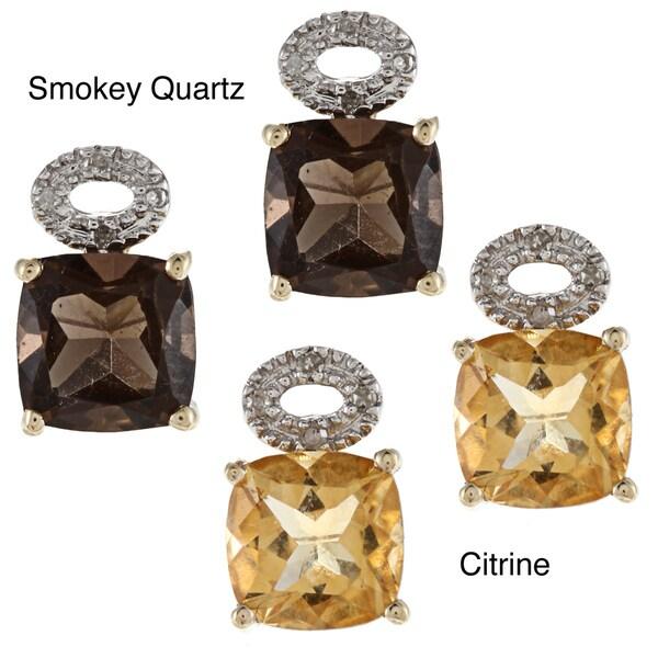 Viducci 10k Yellow Gold Gemstone and Diamond Accent Earrings