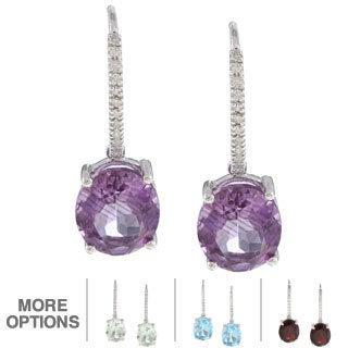Viducci 10k Gold Gemstone and 1/8ct TDW Diamond Earrings (G-H, I1-I2)