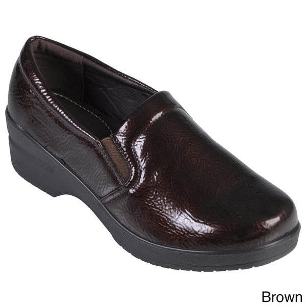 Journee Collection Women's Faux Leather Patent Clogs