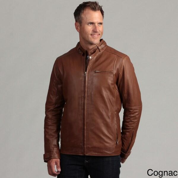 Izod Men's Lambskin Leather Motorcycle Jacket