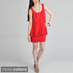 24/7 Comfort Apparel Women's Layered Knit Dress
