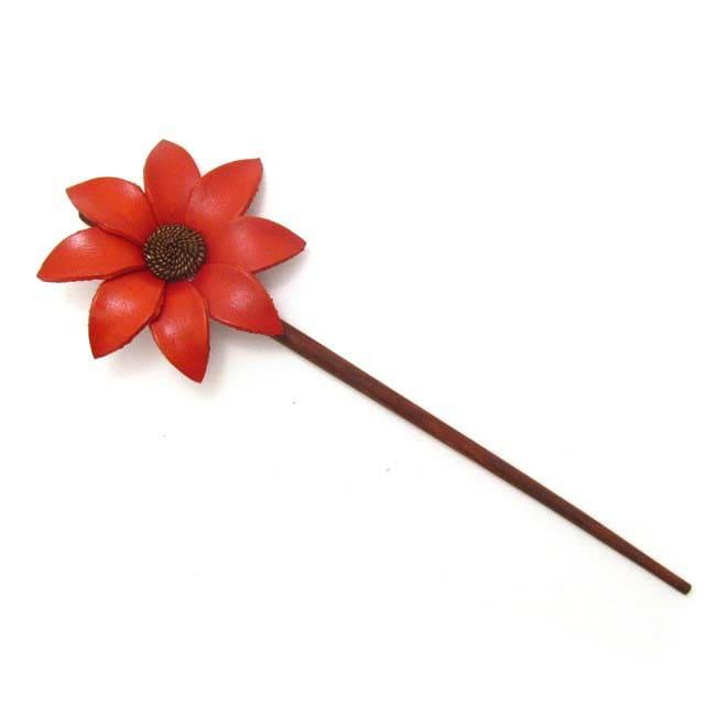 Orange Lily Genuine Leather Handmade Hair Chopstick (Thailand)