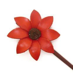 Orange Lily Genuine Leather Handmade Hair Chopstick (Thailand) - Thumbnail 1
