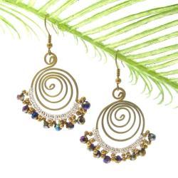 Rainbow Drizzle Crystal Brass Swirl Handmade Earrings (Thailand)