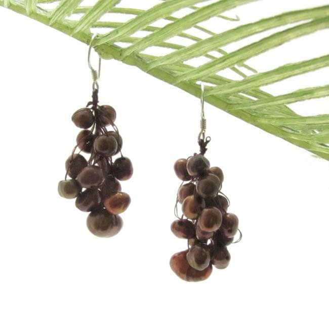 Brown Grapes Freshwater Pearl Cluster Earrings (Thailand)