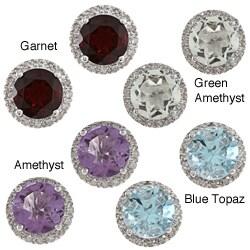 Viducci 10k Gold Gemstone and 1/5ct TDW Diamond Earrings (G-H, I1-I2)