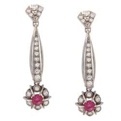 Pre-owned 18k White Gold 1 1/2 ct TDW Dangling Ruby Art Deco Earrings (H-I, SI1-SI2)|https://ak1.ostkcdn.com/images/products/6807756/18k-White-Gold-1-1-2-ct-TDW-Dangling-Ruby-Art-Deco-Earrings-H-I-SI1-SI2-P14341441.jpg?impolicy=medium