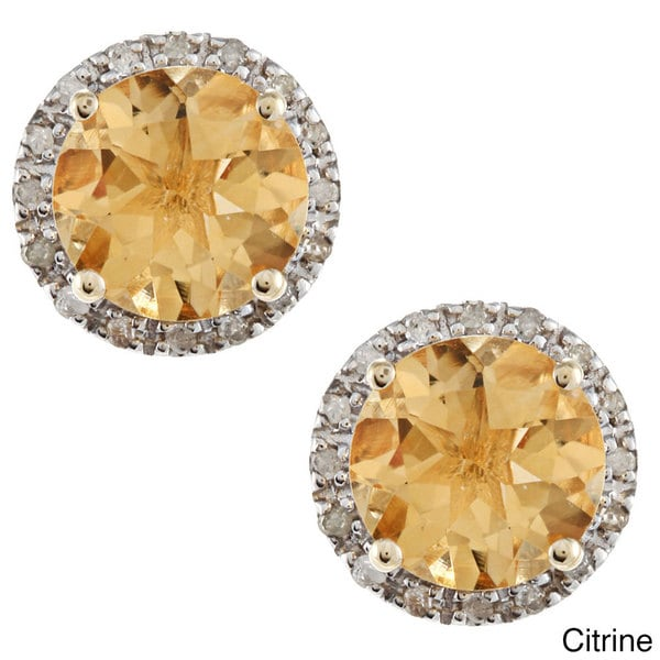 Viducci 10k Gold Gemstone and 1/5ct TDW Diamond Earrings (G-H, I1-I2)
