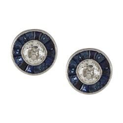 Pre-owned Platinum 1/2ct TDW Sapphire Stud Earrings (I-J, VS1-VS2)