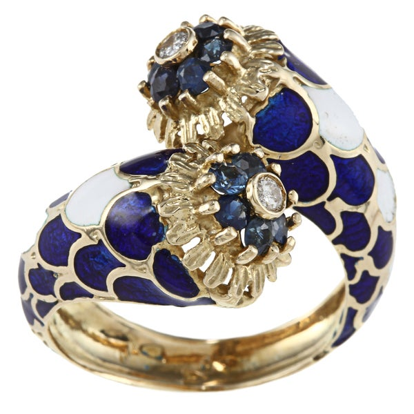 18k Yellow Gold 1/10ct TDW Enamel Estate Ring (G-H, SI1-SI2)