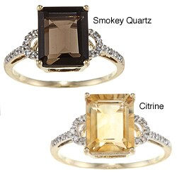 Viducci 10K Gold Prong-set Gemstone and 1/10Ct TDW Diamond Ring