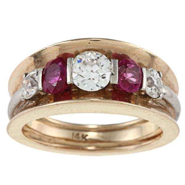 14k Gold 1 3/5ct TDW Ruby Band Ring (I-J, SI1-SI2)