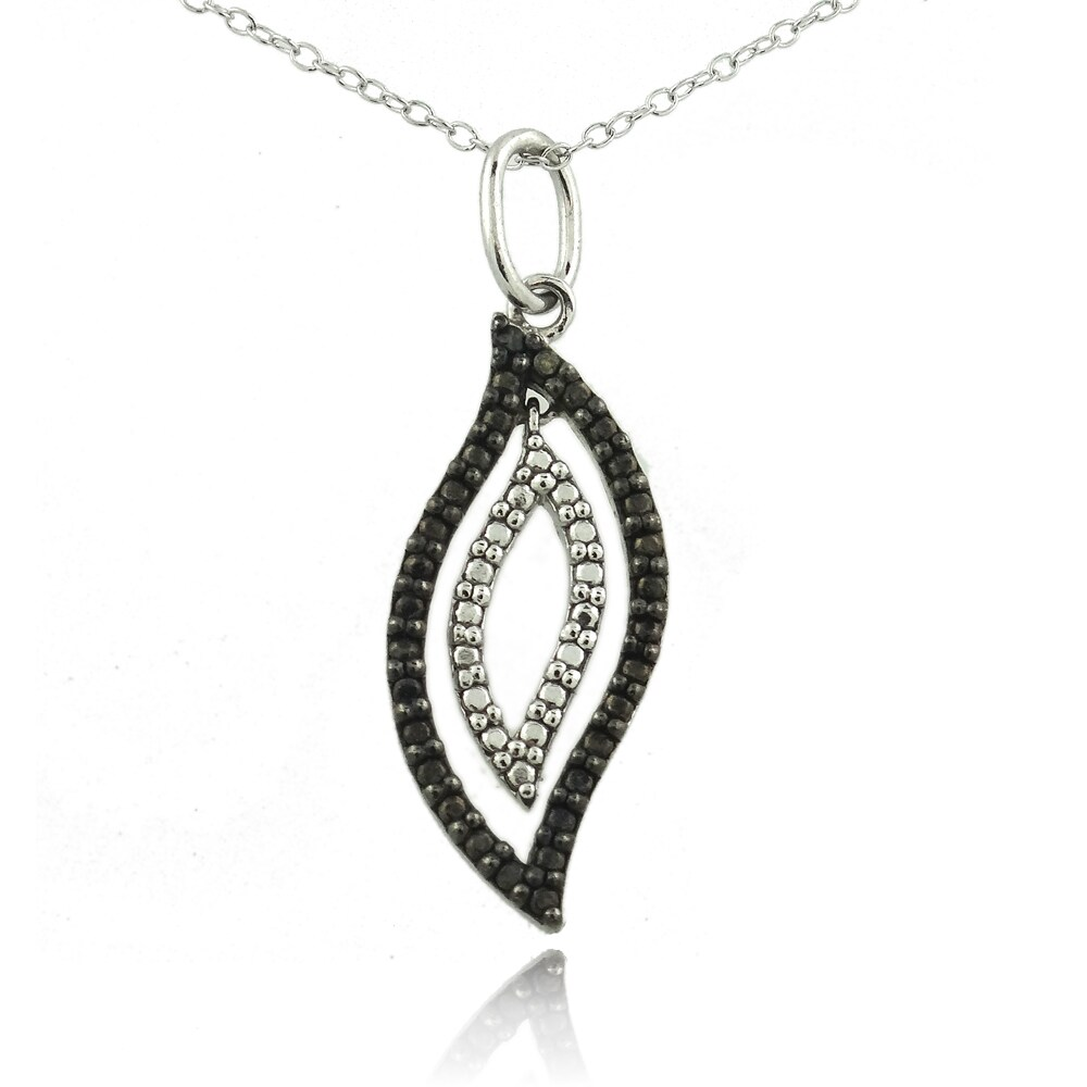 DB Designs Sterling Silver Black Diamond Accent Geometric Flame Necklace